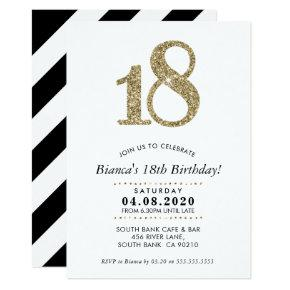 18TH BIRTHDAY PARTY INVITE modern gold glitter