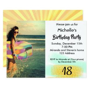 18th birthday party modern photo invitation card