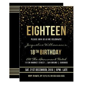 18th Birthday Party | Shimmering Gold Confetti Invitation