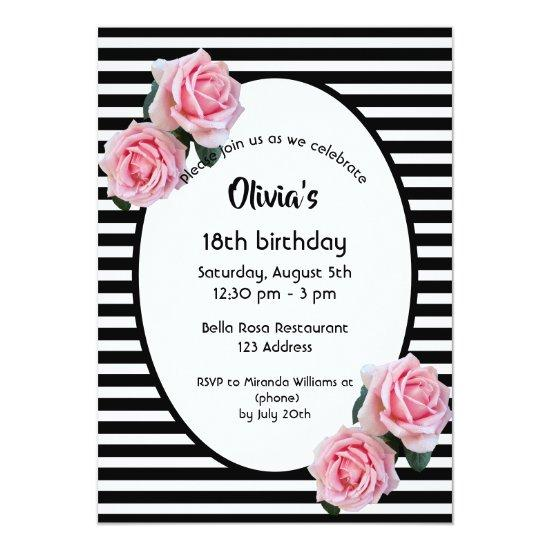 18th birthday pink roses on black white stripes invitations