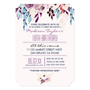 18th Birthday Purple & Turquoise Watercolor Flower Card