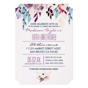 18th Birthday Purple & Turquoise Watercolor Flower Invitation