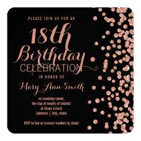 18th Birthday Rose Gold Faux Glitter Confetti Blac Invitation