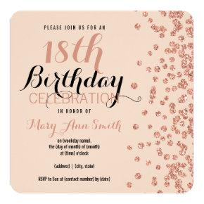 18th Birthday Rose Gold Faux Glitter Confetti Invitation