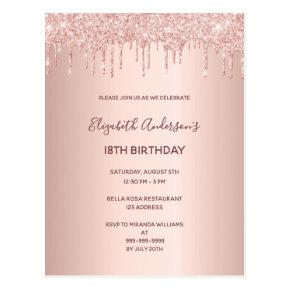 18th birthday rose gold glitter drip invitation post