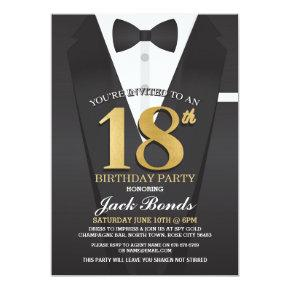 18th Birthday Spy Suit Black tie Gold Invitation