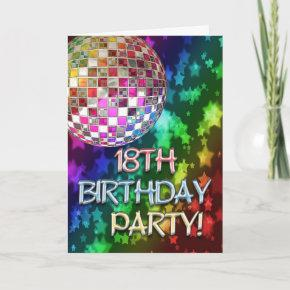 18th Invitation With Disco Ball And Rainbow Stars