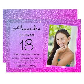 18th Sparkle Glitter Girly Pink and Purple Invitation