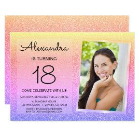 18th Sparkle Glitter Luxury Pink, Gold Purple Invitation