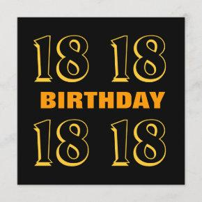 18th Teen Birthday Modern Gold and Black W1016 Card