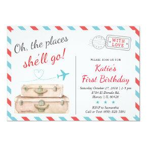 1st 2nd 3rd Airplane Travel Birthday Party Girl Invitation