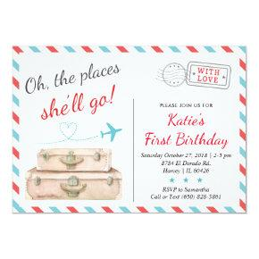 1st 2nd 3rd Airplane Travel Birthday Party Girl Invitations