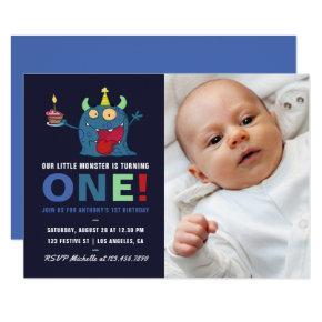 1st Birthday Baby Boy Little Monster Invitation