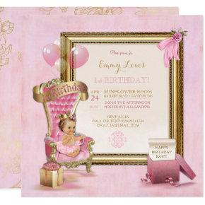 1st Birthday Baby Girl Princess Throne Gold Pink Invitation