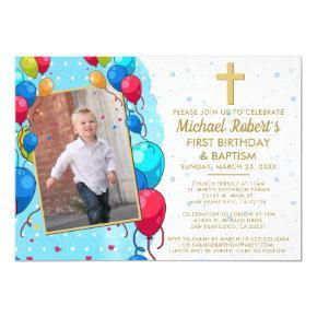 1st Birthday Baptism Blue Gold Text Photo Balloons Invitation