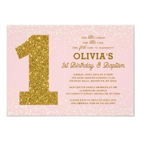 1st Birthday Baptism Invitations Pink Gold Girl