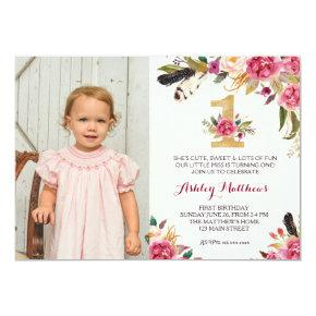 1ST birthday boho feather FIRST Floral Invitations