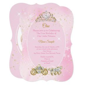 1st birthday Cinderella Pink Carriage Photo Invitation