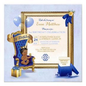 1st Birthday Ethnic Boy Royal Blue Gold Photo Invitation