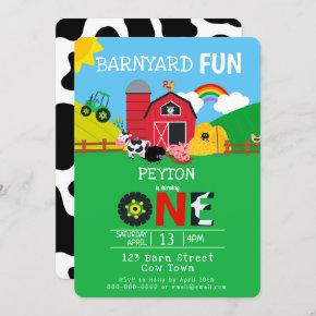 1st Birthday Farm Animals Barnyard Fun Kids Cute Invitation