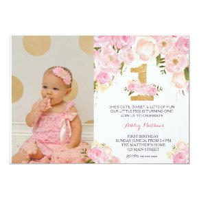 1ST birthday  FIRST Beautiful Floral Invitation, Invitation