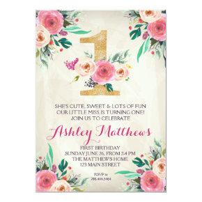 1ST birthday FIRST Beautiful Floral Invitations, Invitations