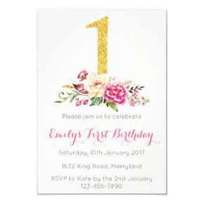 1st Birthday First Pink Gold Floral Invitations