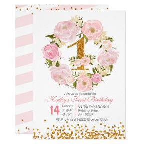 1st Birthday Floral girl Invitation Invitations