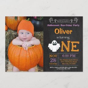 1st Birthday Halloween Party Photo Invitation