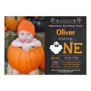 1st Birthday Halloween Party Photo Invitation
