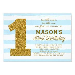1st Birthday Invitation Boy Baby Blue Stripes Gold