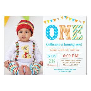 1st Birthday Invitation. Boy First Birthday Photo Invitation