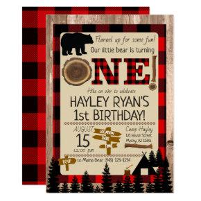 1st Birthday Little Bear Flannel Lumberjack Theme Invitation