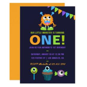 1st Birthday Little Monster Boy Party Invitation