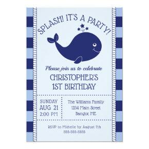 1st Birthday Nautical Blue Whale Blue Navy Stripes Invitation