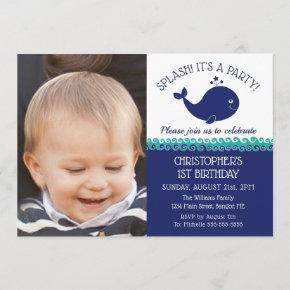 1st Birthday Nautical Blue Whale Photo Party Invitation