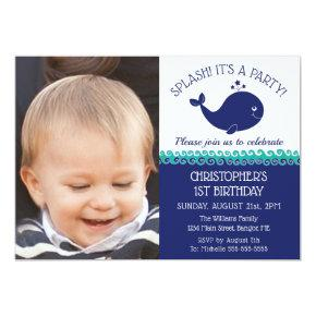 1st Birthday Nautical Blue Whale Photo Party Invitation