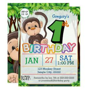 1st Birthday Party Monkey Invitation