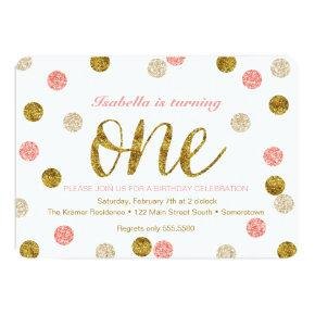 1st Birthday-Pink and Gold Glitter Invitation