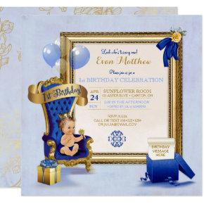 1st Birthday Prince Boy Royal Blue Gold Photo Invitation