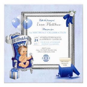 1st Birthday Prince Boy Royal Blue Silver Photo Invitation