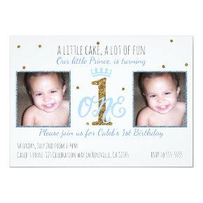 1st Birthday Prince Boys Party Photo Invitations