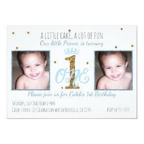 1st Birthday Prince Boys Party Photo Invitations