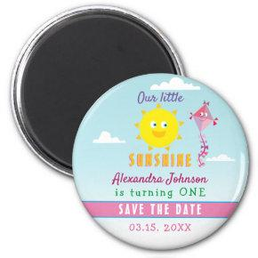 1st Birthday Save The Date Cute Sun and Pink Kite Magnet