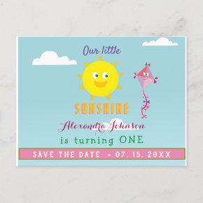 1st Birthday Save The Date , Our Little Sunshine Announcement Post