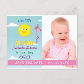 1st Birthday Save The Date , Sun & Pink Kite Photo Announcement Post