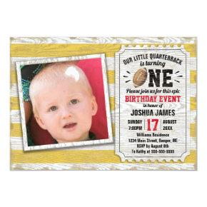 1st Birthday Sports Football Rustic Gold Photo Invitation