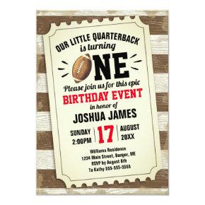 1st Birthday Sports Football Ticket Rustic Brown Invitation