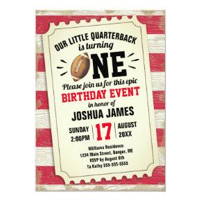 1st Birthday Sports Football Ticket Rustic Red Invitation