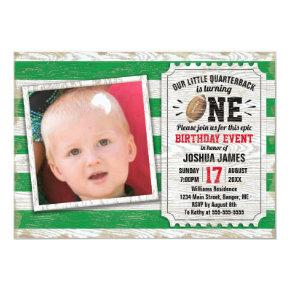 1st Birthday Sports Photo Football Rustic Green Invitation